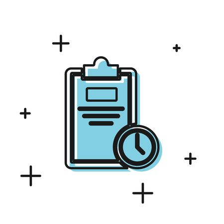 Black Exam sheet with clock icon isolated on white background. Test paper, exam, or survey concept. School test or exam. Vector Illustration Ilustração