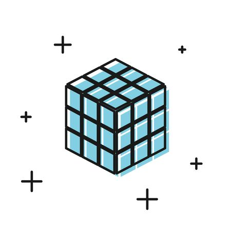 Black cube icon isolated on white background. Mechanical puzzle toy. cube 3d combination puzzle. Vector Illustration