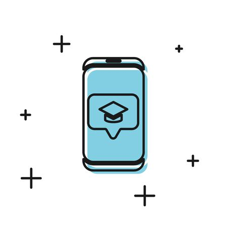 Black Graduation cap on screen smartphone icon isolated on white background. Online learning or e-learning concept. Vector Illustration