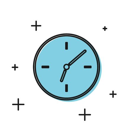 Black Clock icon isolated on white background. Time symbol. Vector Illustration