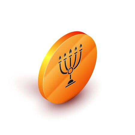 Isometric Hanukkah menorah icon isolated on white background. Hanukkah traditional symbol. Holiday religion, jewish festival of Lights. Orange circle button. Vector Illustration Ilustracja