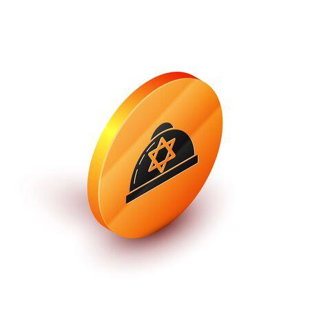 Isometric Jewish kippah with star of david icon isolated on white background. Jewish yarmulke hat. Orange circle button. Vector Illustration