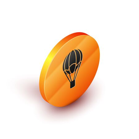 Isometric Hot air balloon icon isolated on white background. Air transport for travel. Orange circle button. Vector Illustration Vetores