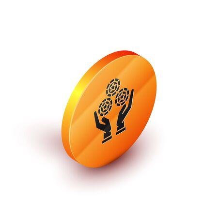 Isometric Hand holding casino chips icon isolated on white background. Casino gambling. Orange circle button. Vector Illustration
