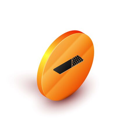 Isometric Eraser or rubber icon isolated on white background. Orange circle button. Vector Illustration