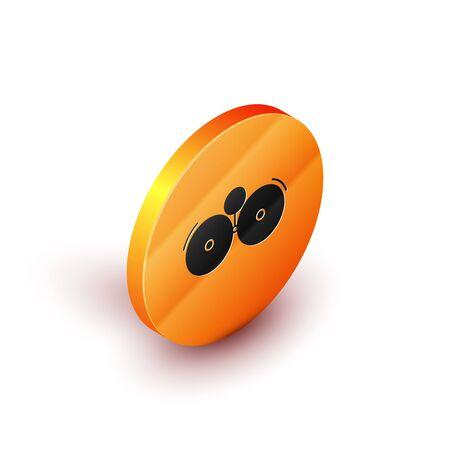Isometric Ringing alarm bell icon isolated on white background. Alarm symbol, service bell, handbell sign, notification symbol. Orange circle button. Vector Illustration