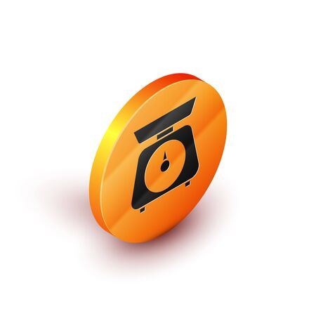 Isometric Scales icon isolated on white background. Weight measure equipment. Orange circle button. Vector Illustration