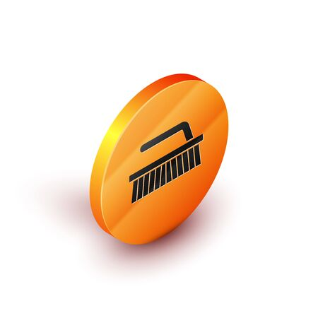 Isometric Brush for cleaning icon isolated on white background. Orange circle button. Vector Illustration