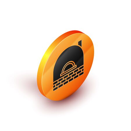 Isometric Brick stove icon isolated on white background. Brick fireplace, masonry stove, stone oven icon.Orange circle button. Vector Illustration Vector Illustratie