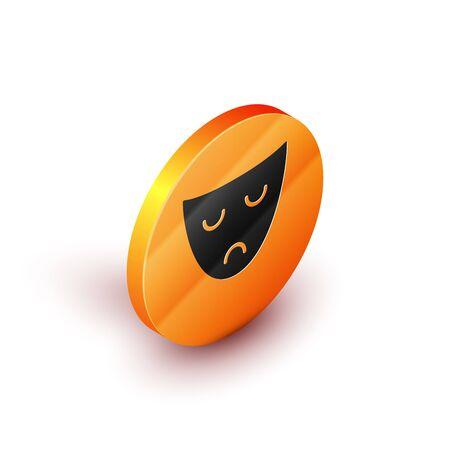 Isometric Drama theatrical mask icon isolated on white background. Orange circle button. Vector Illustration 일러스트