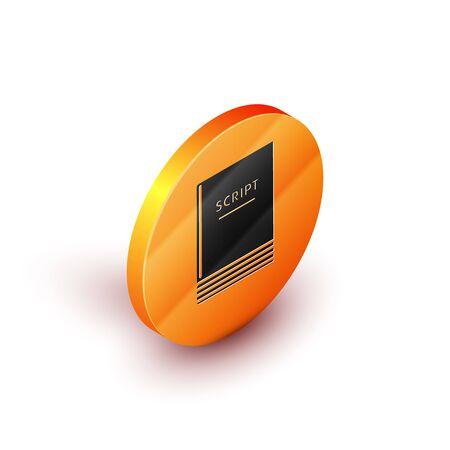 Isometric Scenario icon isolated on white background. Script reading concept for art project, films, theaters. Orange circle button. Vector Illustration Illusztráció