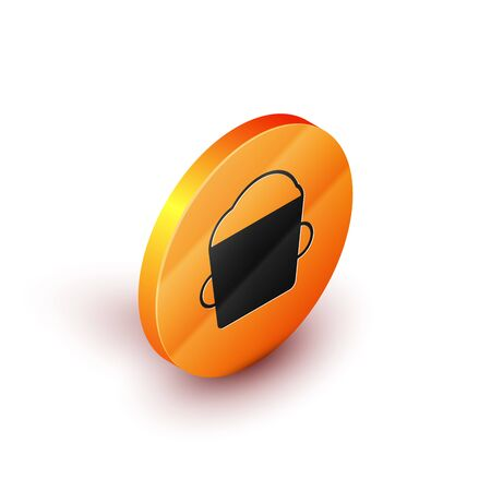 Isometric Bakery bowl dough icon isolated on white background. Orange circle button. Vector Illustration
