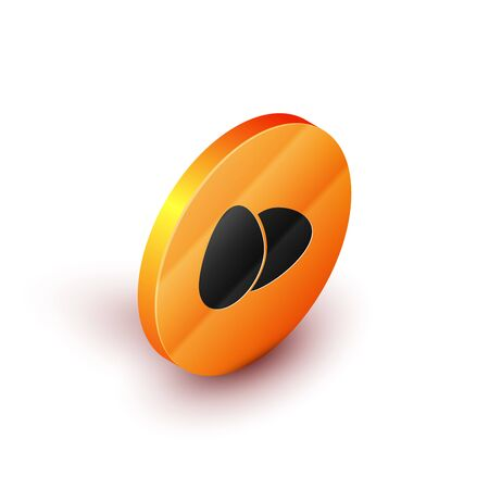 Isometric Chicken egg icon isolated on white background. Orange circle button. Vector Illustration