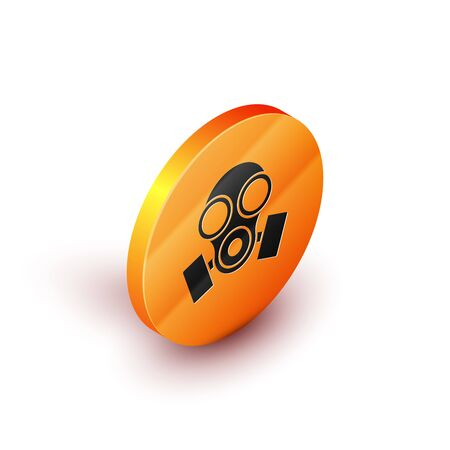 Isometric Gas mask icon isolated on white background. Respirator sign. Orange circle button. Vector Illustration