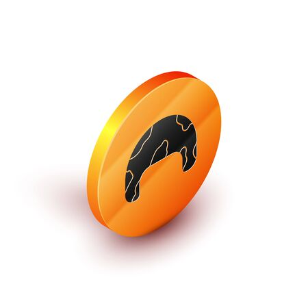 Isometric Military helmet icon isolated on white background. Army hat symbol of defense and protect. Protective hat. Orange circle button. Vector Illustration 向量圖像