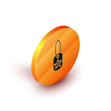 Isometric Military dog tag icon isolated on white background. Identity tag icon. Army sign. Orange circle button. Vector Illustration
