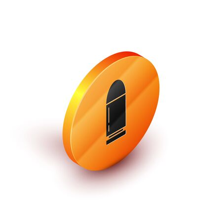 Isometric Bullet icon isolated on white background. Orange circle button. Vector Illustration