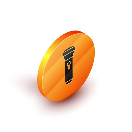 Isometric Flashlight icon isolated on white background. Orange circle button. Vector Illustration Illustration