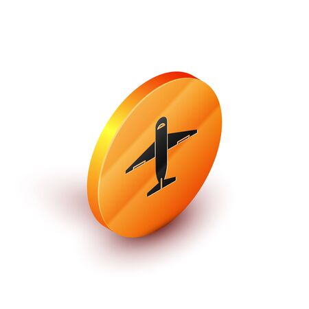 Isometric Plane icon isolated on white background. Delivery, transportation. Cargo delivery by air. Airplane with parcels, boxes. Orange circle button. Vector Illustration