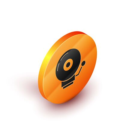 Isometric Ringing alarm bell icon isolated on white background. Alarm symbol, service bell, handbell sign, notification symbol. Orange circle button. Vector Illustration  イラスト・ベクター素材
