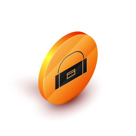 Isometric Case or box container for wobbler and gear fishing equipment icon isolated on white background. Fishing tackle. Orange circle button. Vector Illustration