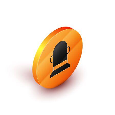 Isometric Buoy icon isolated on white background. Orange circle button. Vector Illustration