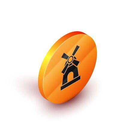 Isometric Windmill icon isolated on white background. Orange circle button. Vector Illustration Illustration