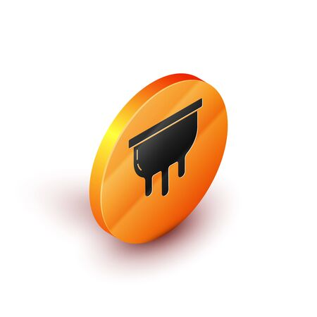Isometric Udder icon isolated on white background. Orange circle button. Vector Illustration
