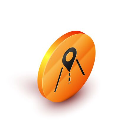Isometric Road traffic sign. Signpost icon isolated on white background. Pointer symbol. Isolated street information sign. Direction sign. Orange circle button. Vector Illustration