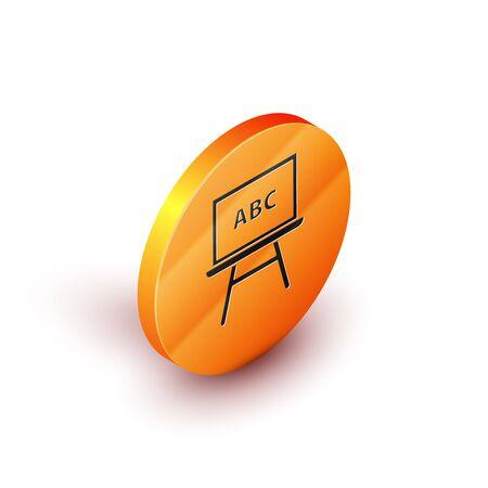 Isometric Chalkboard icon isolated on white background. School Blackboard sign. Orange circle button. Vector Illustration