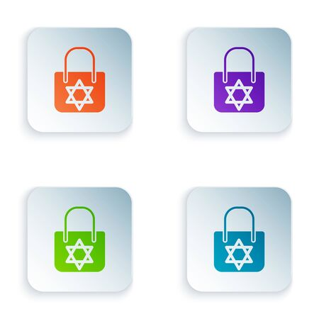Color Shopping bag with star of david icon isolated on white background. Package sign. Set icons in colorful square buttons. Vector Illustration
