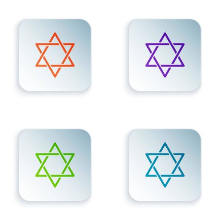 Color Star of David icon isolated on white background. Jewish religion symbol. Symbol of Israel. Set icons in colorful square buttons. Vector Illustration