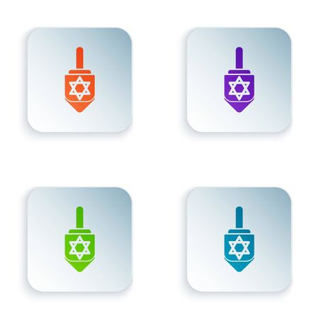 Color Hanukkah dreidel icon isolated on white background. Set icons in colorful square buttons. Vector Illustration