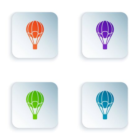 Color Hot air balloon icon isolated on white background. Air transport for travel. Set icons in colorful square buttons. Vector Illustration