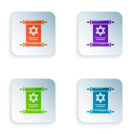 Color Torah scroll icon isolated on white background. Jewish Torah in expanded form. Star of David symbol. Old parchment scroll. Set icons in colorful square buttons. Vector Illustration