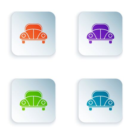 Color Car Volkswagen beetle icon isolated on white background. Set icons in colorful square buttons. Vector Illustration