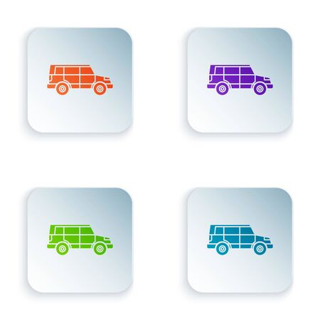 Color Off road car icon isolated on white background. Jeep sign. Set icons in colorful square buttons. Vector Illustration