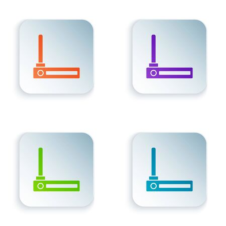 Color Router and w-fi signal symbol icon isolated on white background. Wireless modem router. Computer technology internet. Set icons in colorful square buttons. Vector Illustration