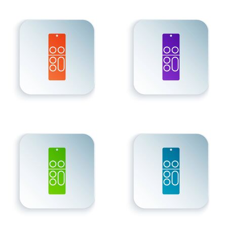 Color Remote control icon isolated on white background. Set icons in colorful square buttons. Vector Illustration