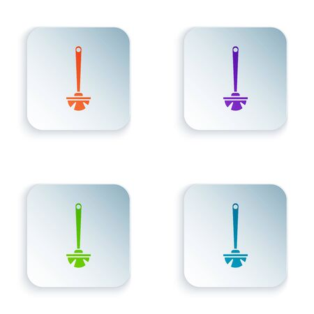 Color Toilet brush icon isolated on white background. Set icons in colorful square buttons. Vector Illustration