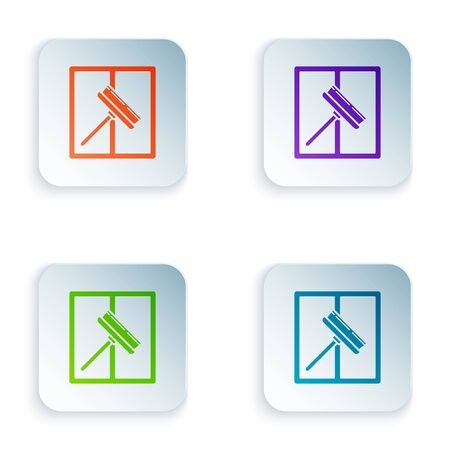 Color Cleaning service with of rubber cleaner for windows icon isolated on white background. Squeegee, scraper, wiper. Set icons in colorful square buttons. Vector Illustration