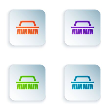 Color Brush for cleaning icon isolated on white background. Set icons in colorful square buttons. Vector Illustration