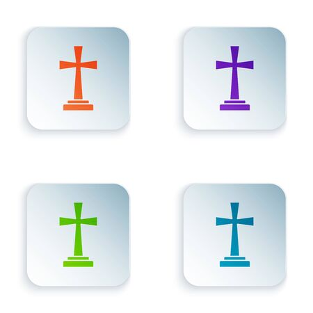 Color Tombstone with cross icon isolated on white background. Grave icon. Set icons in colorful square buttons. Vector Illustration
