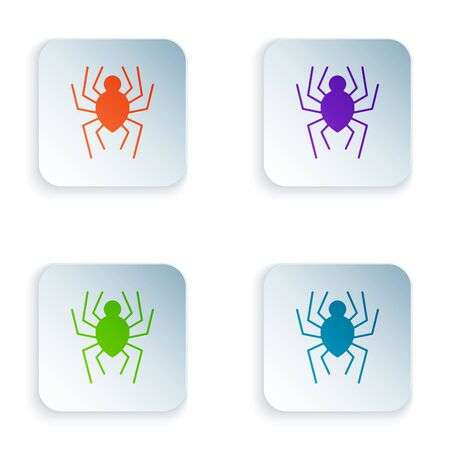 Color Spider icon isolated on white background. Happy Halloween party. Set icons in colorful square buttons. Vector Illustration Illustration
