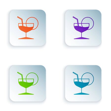 Color Martini glass icon isolated on white background. Cocktail icon. Wine glass icon. Set icons in colorful square buttons. Vector Illustration