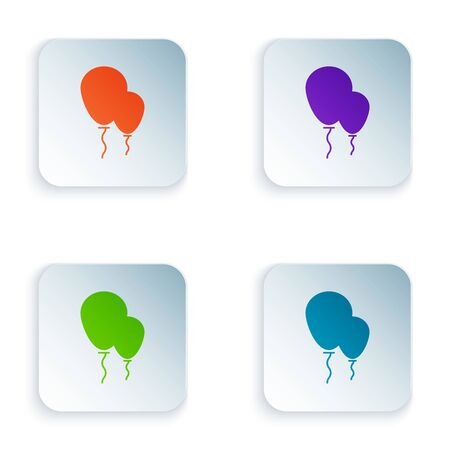 Color Balloons with ribbon icon isolated on white background. Set icons in colorful square buttons. Vector Illustration