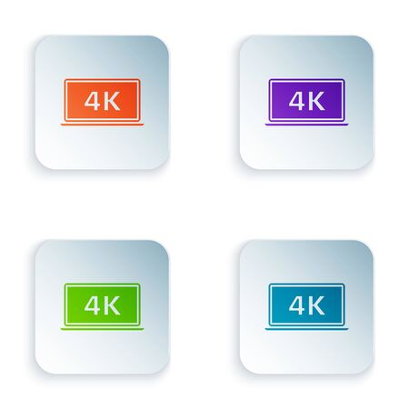 Color Laptop screen with 4k video technology icon isolated on white background. Set icons in colorful square buttons. Vector Illustration