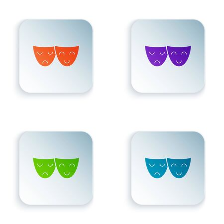 Color Comedy and tragedy theatrical masks icon isolated on white background. Set icons in colorful square buttons. Vector Illustration 일러스트