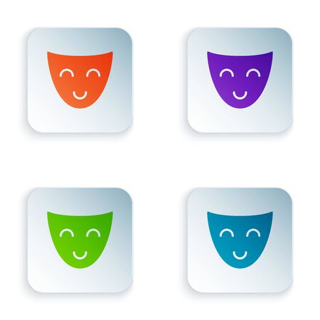 Color Comedy theatrical mask icon isolated on white background. Set icons in colorful square buttons. Vector Illustration