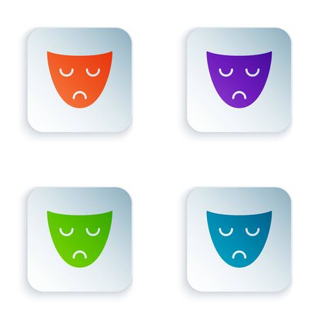 Color Drama theatrical mask icon isolated on white background. Set icons in colorful square buttons. Vector Illustration 일러스트